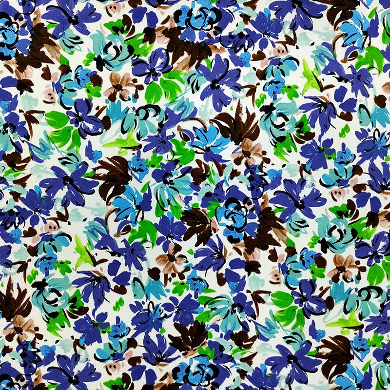 Tessuto Cotone Elasticizzato Fiori Colorati Azzurro E Viola