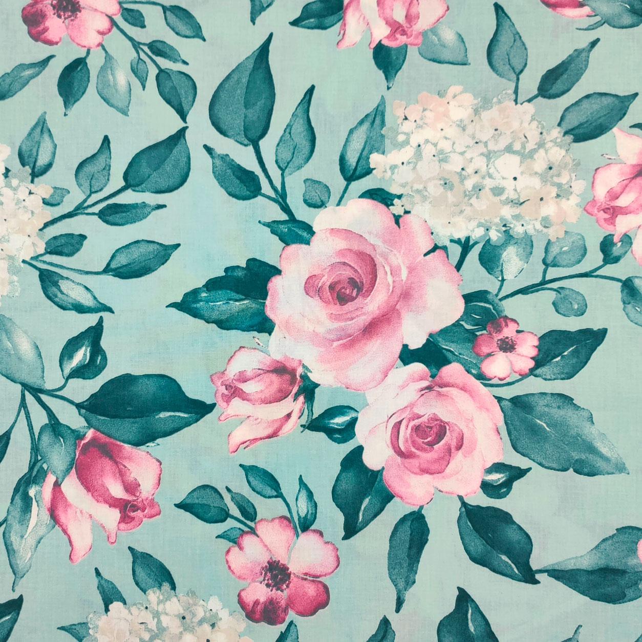 Tessuto di Cotone Fantasia di Rose e Ortensie