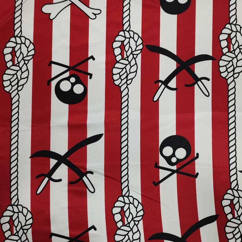 Tessuto Raso Carnevale Teschi Pirati