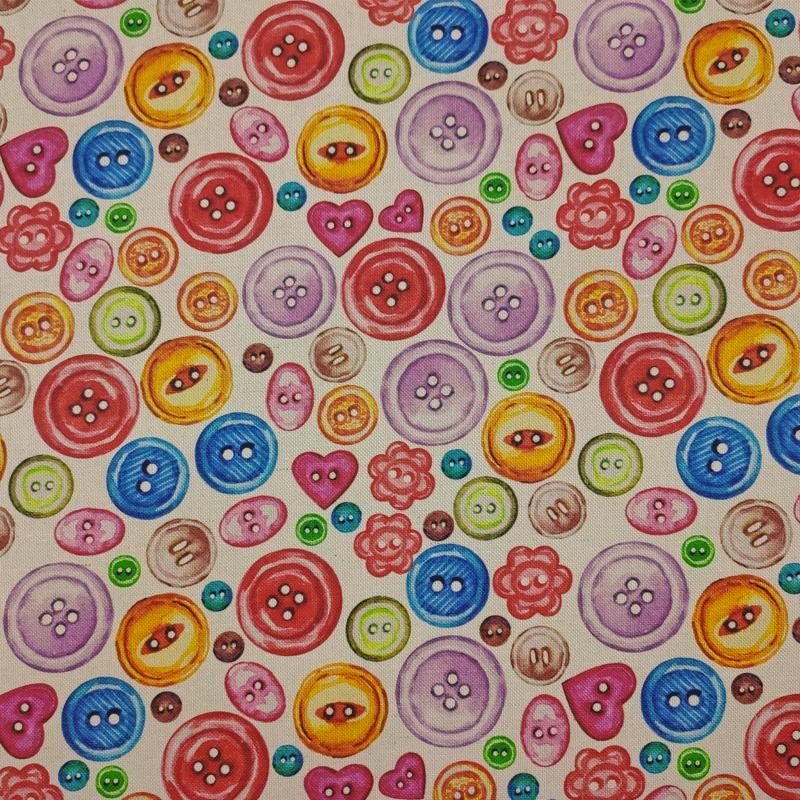 Tessuto-Arredo-Cotone-Bottoni-Colorati