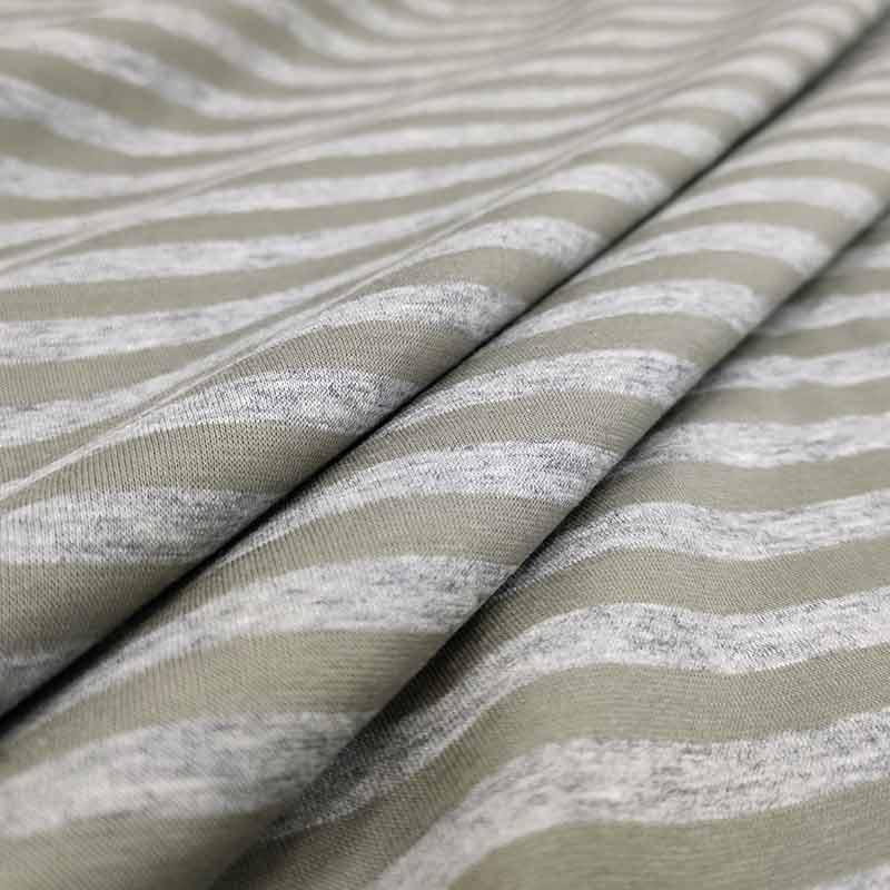 Tessuto Maglina di Cotone Righe Grigio e Verde Militare