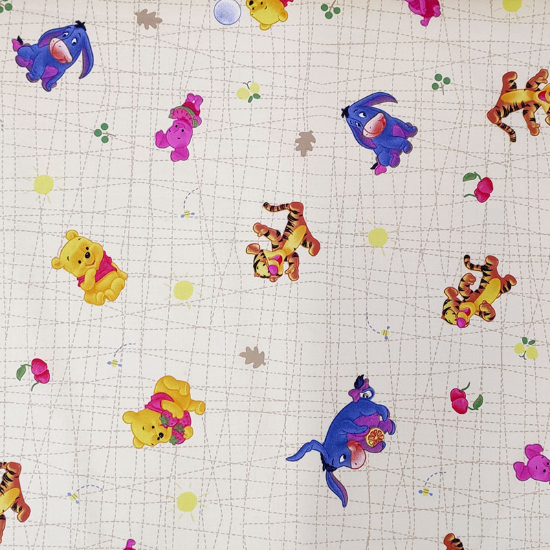 Tessuto Cotone Disney Winnie The Pooh Sfondo Beige