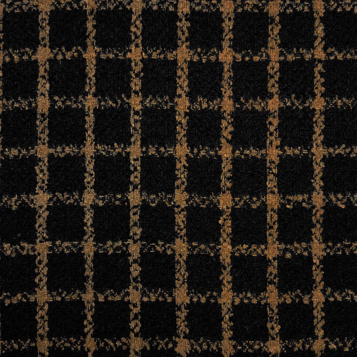 Tessuto Bouclè Cappotto Quadro Nero e Cammello