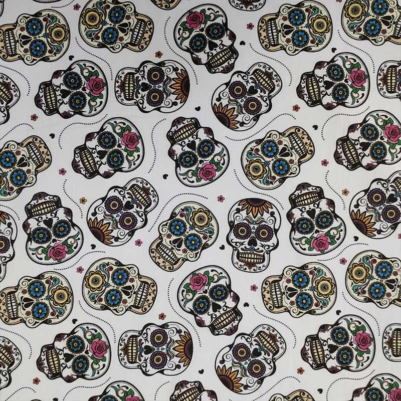 Ritaglio Rasatello di Cotone Leggero Teschi Messicani Sfondo Bianco 50x140 cm