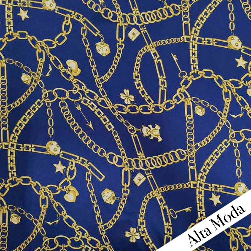 Tessuto Catene e Charme Alta Moda Blu