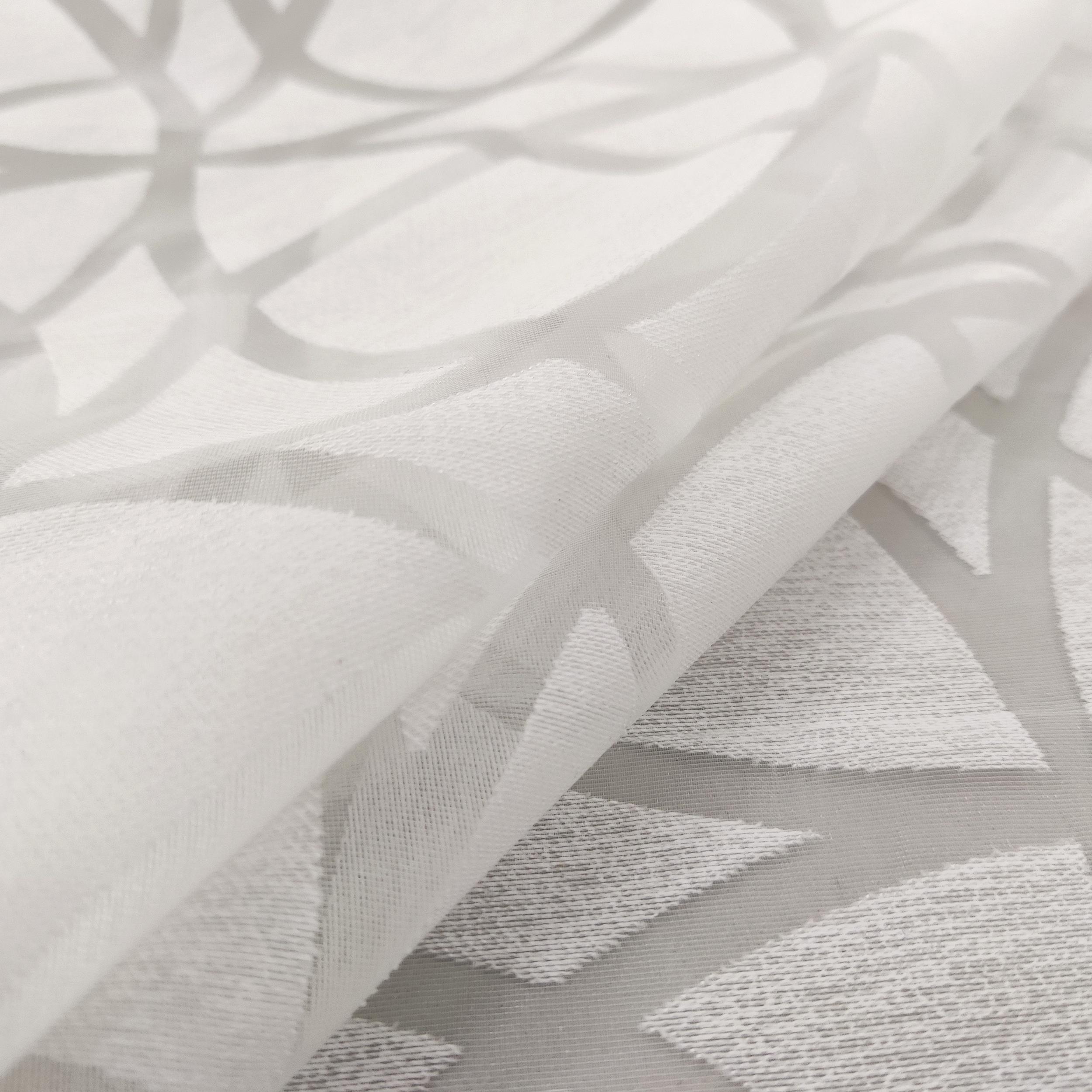 Tessuto Tenda Devorè Geometrico Bianco