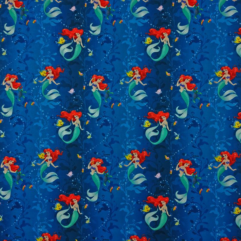 Tessuto Cotone Disney Sirenetta e Flounder