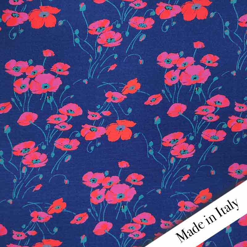 Maglina Bielastica Tulipani Rossi Sfondo Blu