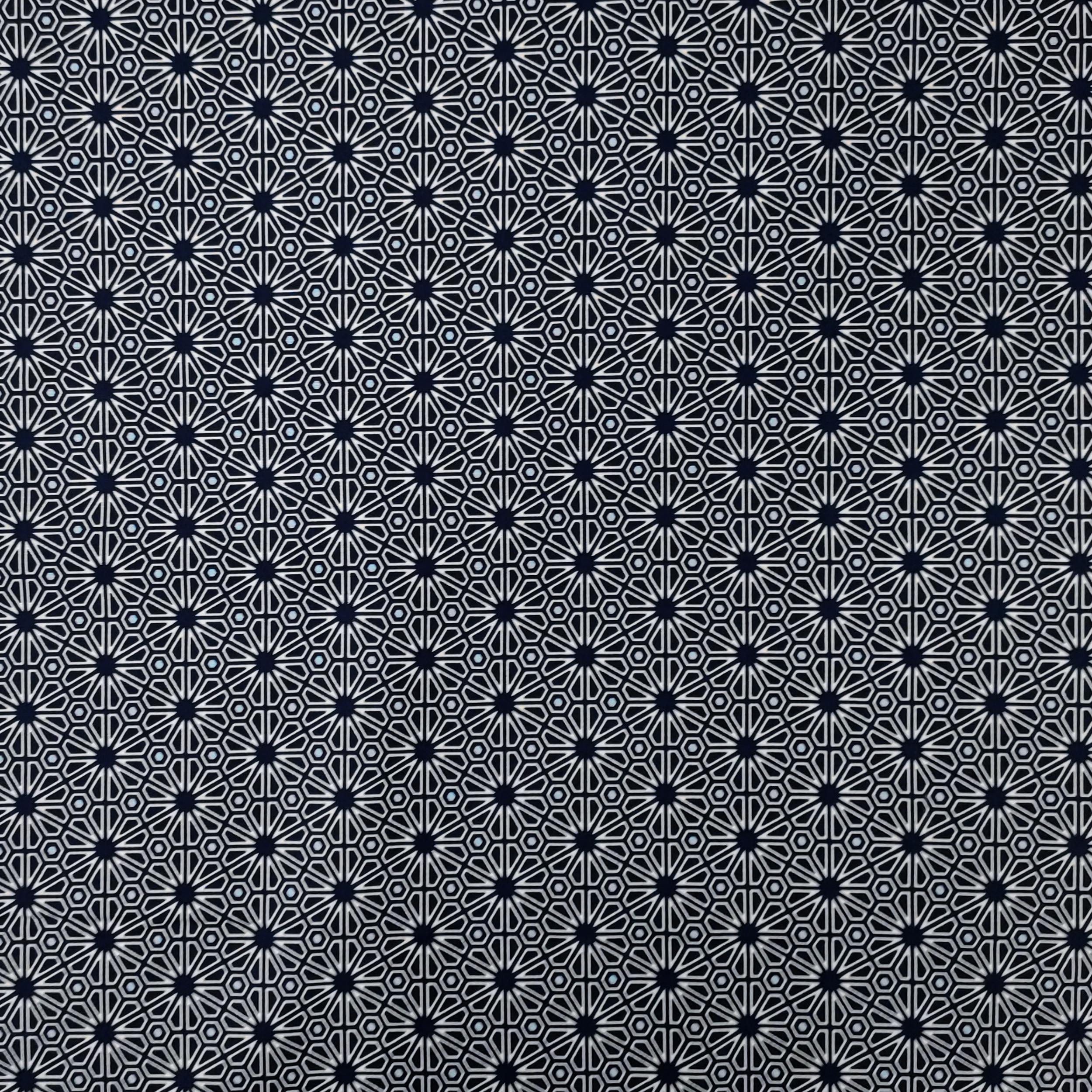 Tessuto Gutermann Fiori Geometrici Blu
