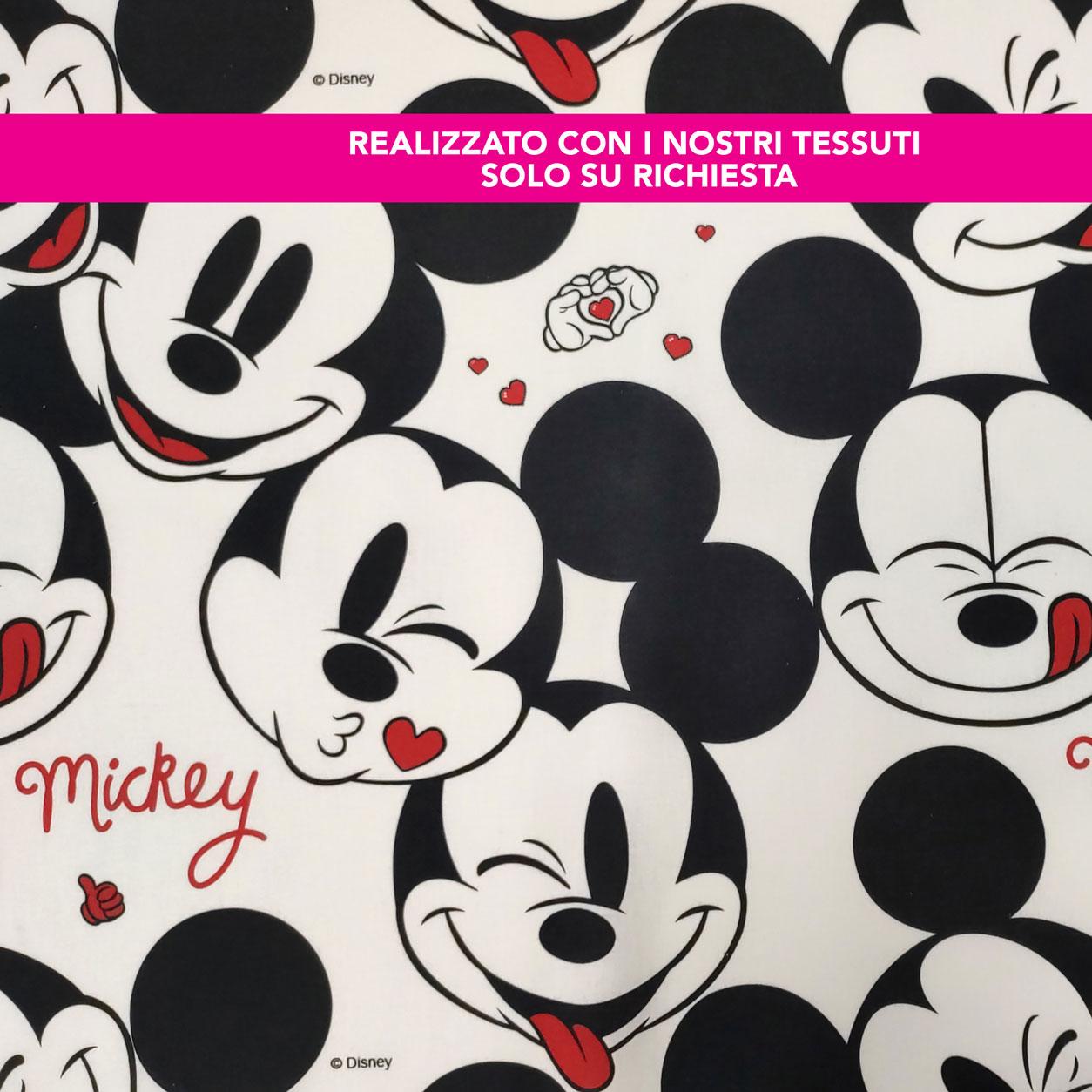 Sacchetto Asilo Personalizzato Faccine Mickey Mouse Bianco