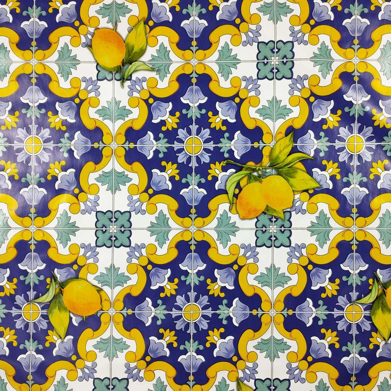 Tovaglia Plastificata Ceramica Limoni