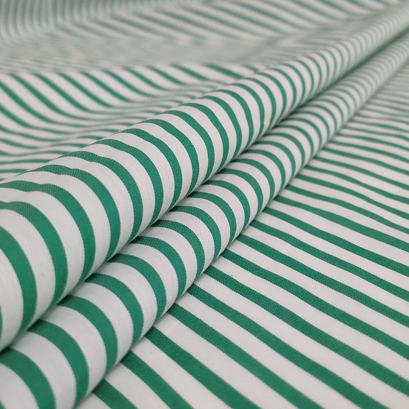 Tessuto Cotone Righe Bianche e Verdi