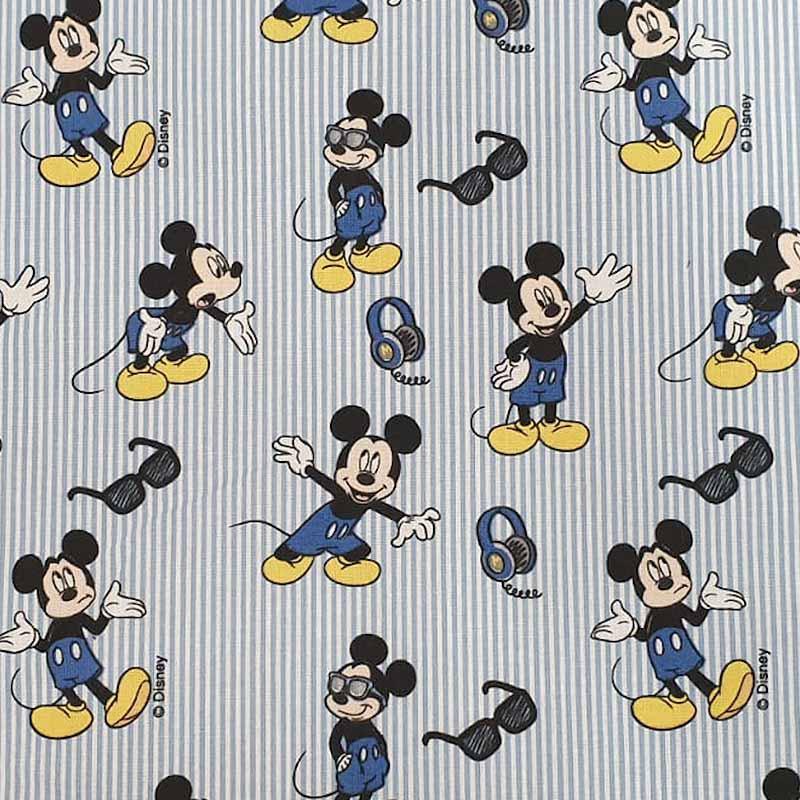 Tessuto Cotone Disney Topolino Righe Azzurre