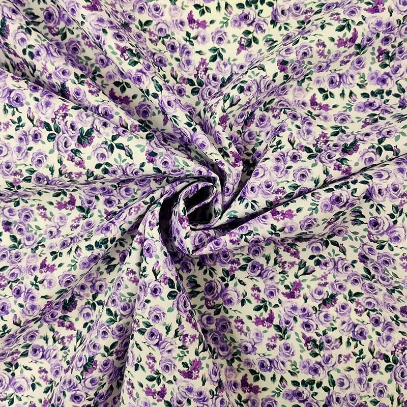 Tessuto di Cotone Roselline Viola