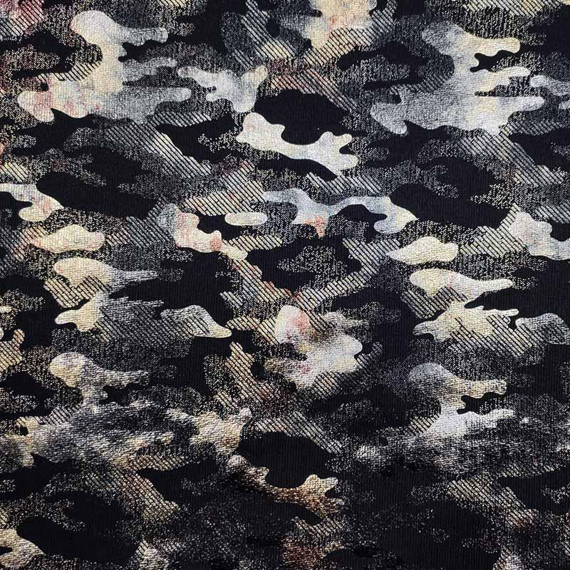 Tessuto Felpa Camouflage Effetto Metallizzato