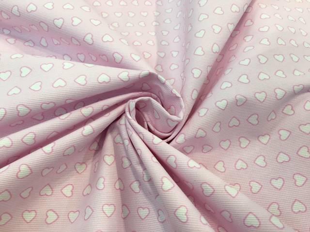 Tessuto Happy Piquet Cuori Rosa