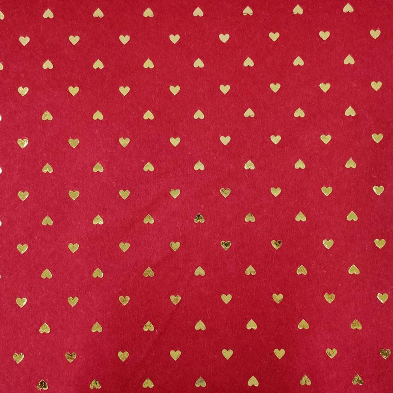 Pannolenci Cuori Oro Sfondo Rosso