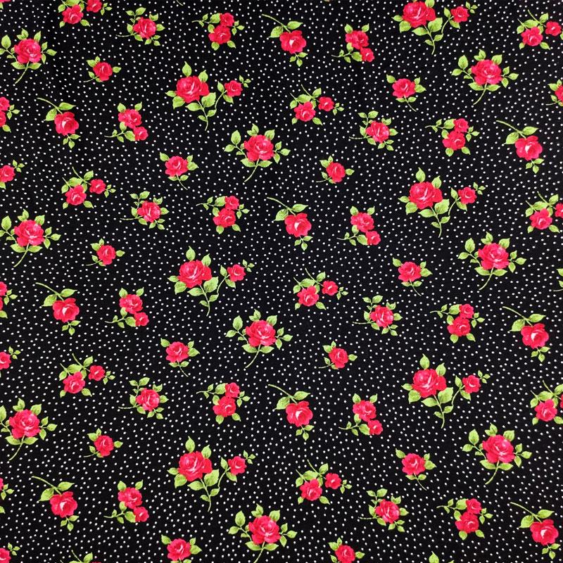 Maglina Rose Rosse Sfondo Nero Pois