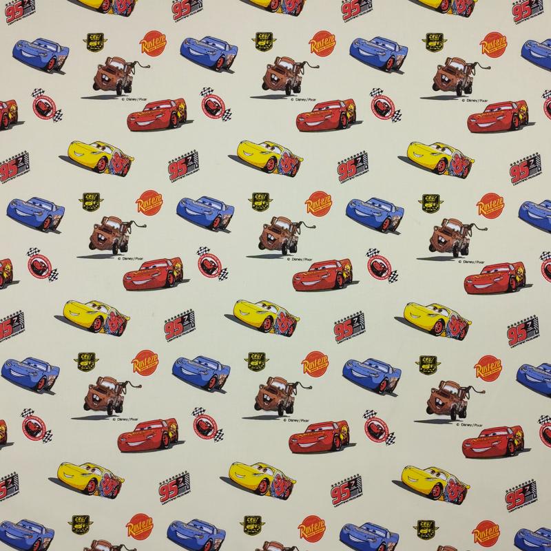Tessuto Cotone Disney Cars Beige