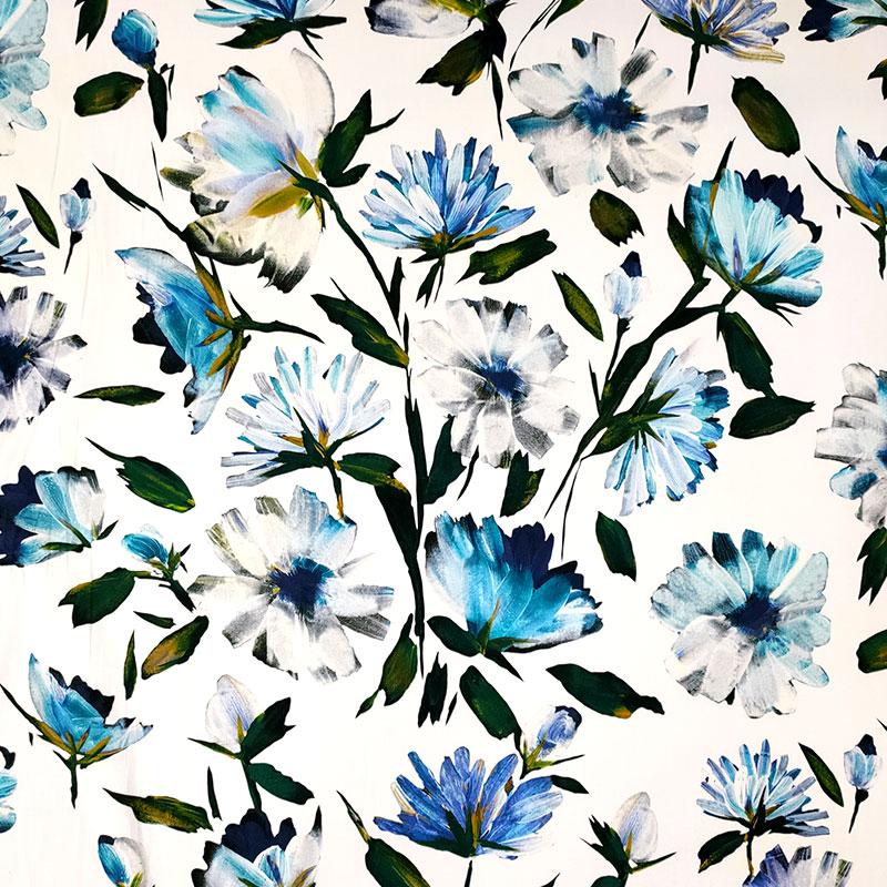 Tessuto Cotone Elasticizzato Fiori Azzurri Sfondo Bianco