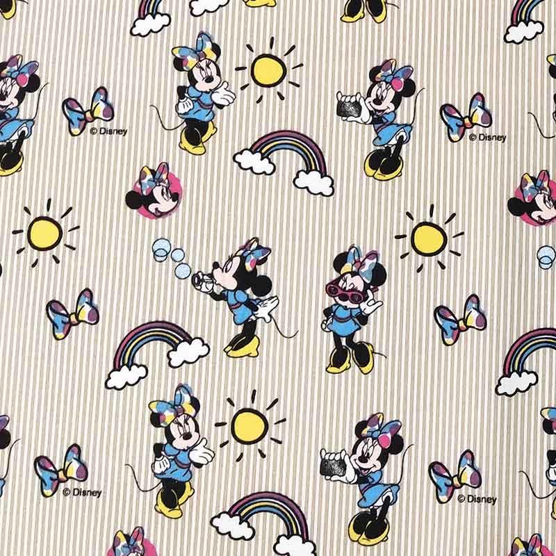 Tessuto Cotone Disney Minnie Arcobaleno Righe Beige