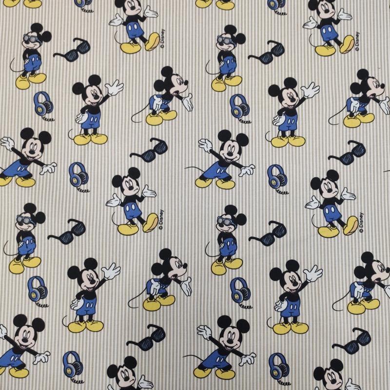 Tessuto Cotone Disney Topolino Righe Beige