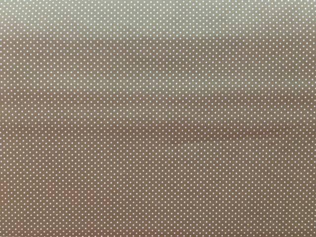 Tessuto Cotone Beige a Pois Bianchi