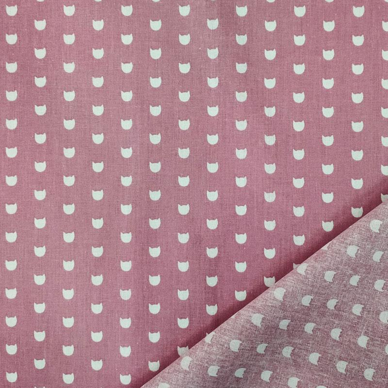 Rasatello Cotone Gattini Bianchi Sfondo Rosa