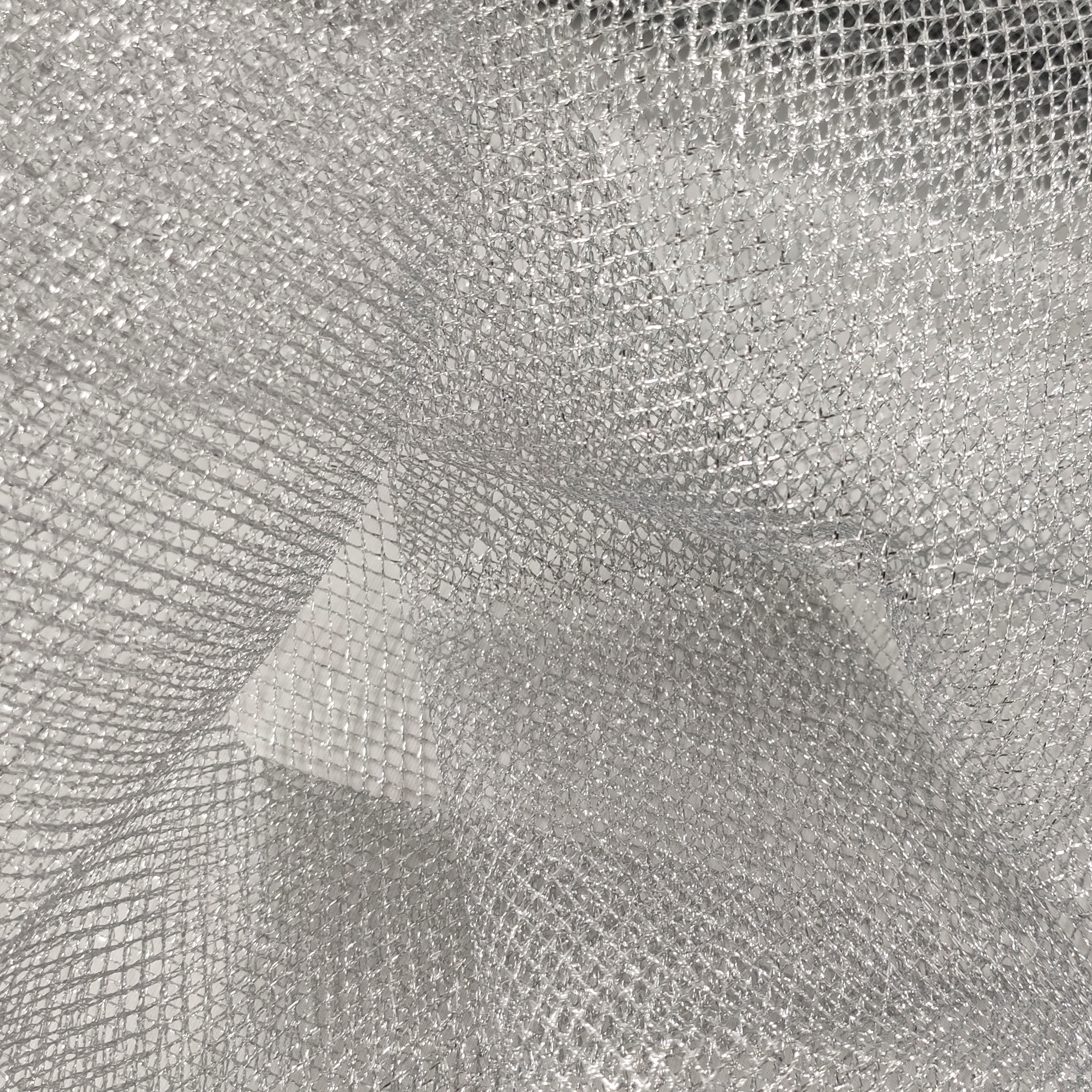 Tessuto Rete Lurex Argento