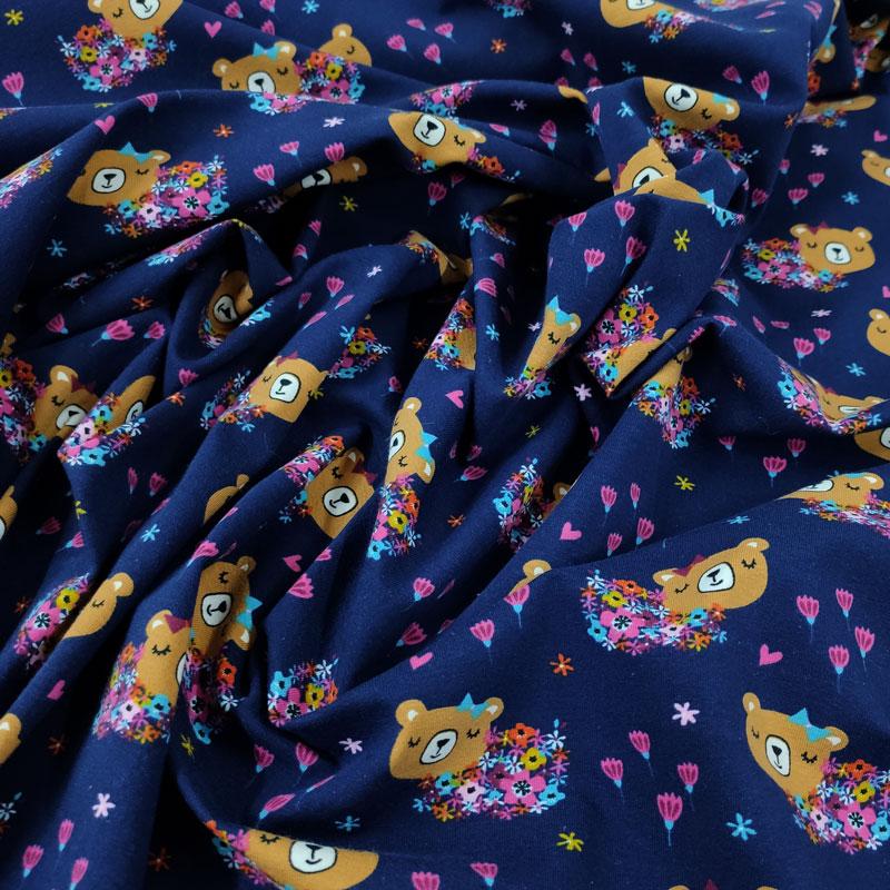 Tessuto Jersey Orsetto e Fiori Blu