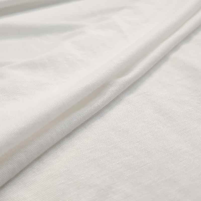 Tessuto Jersey Linen Look Bianco
