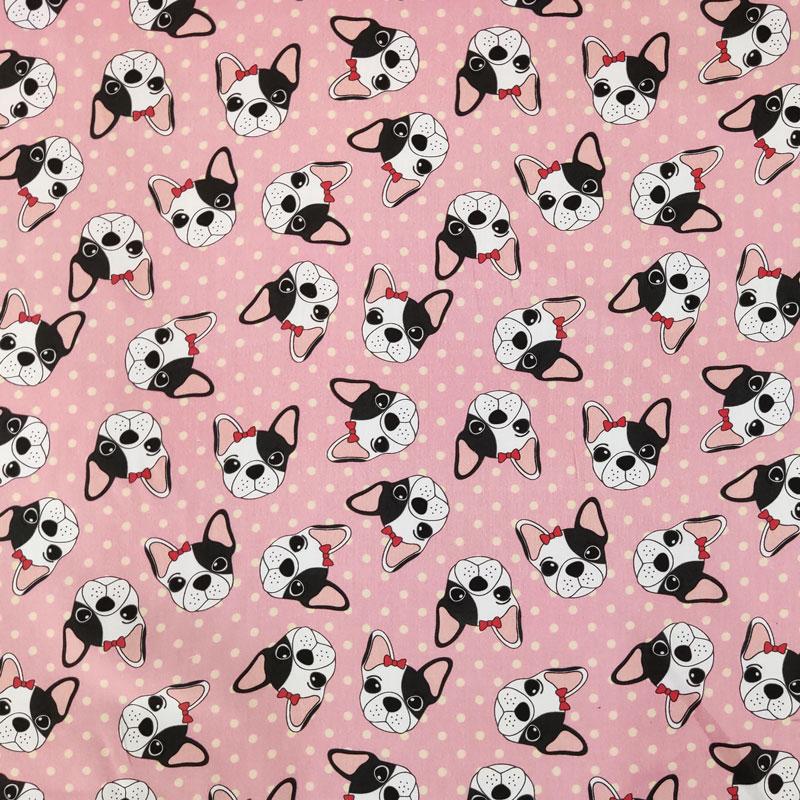 Rasatello di Cotone Bulldog Francesi Rosa
