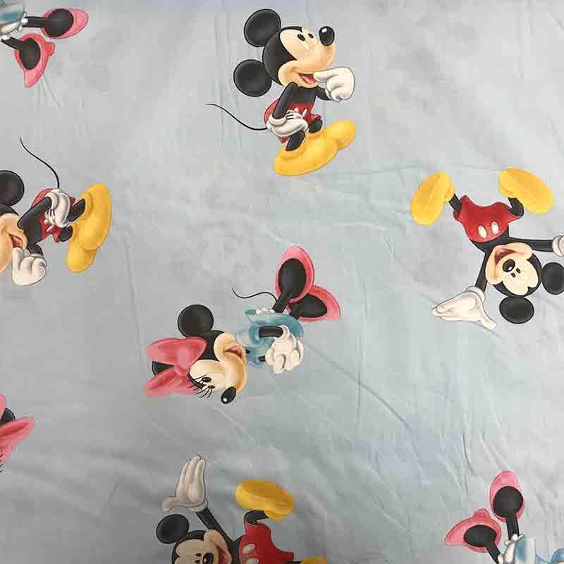 Tessuto Cotone Disney Topolino e Minnie Azzurro