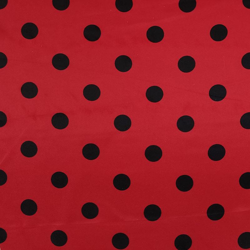 Tessuto Raso Carnevale Rosso Pois Neri