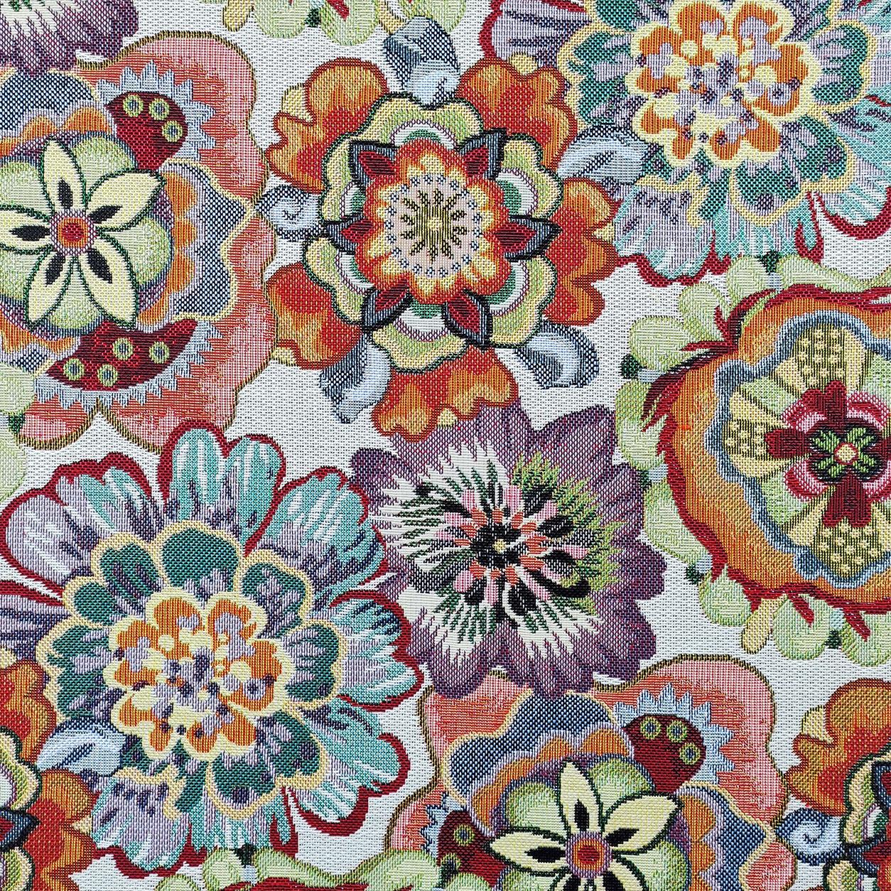 Tessuto Jacquard Fiori Astratti Multicolor