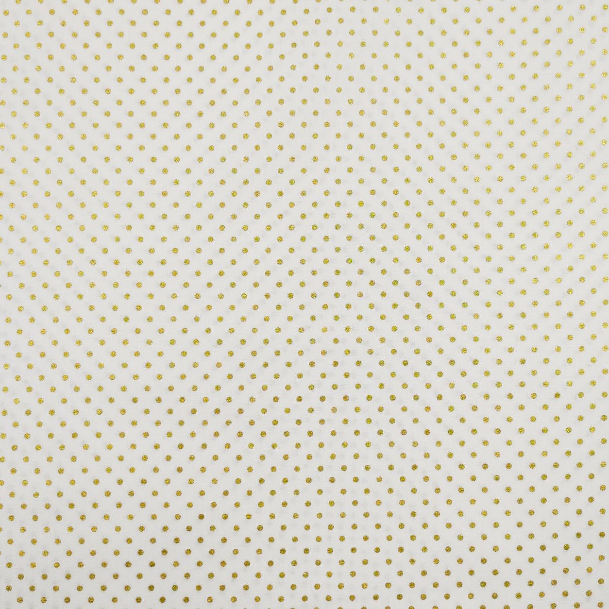 Tessuto Cotone Pois Lurex Oro Sfondo Bianco
