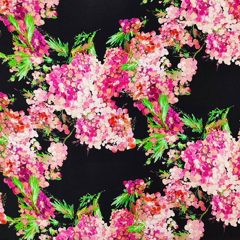 Tessuto Crepe di Seta Fiorellini Dipinti Sfondo Nero
