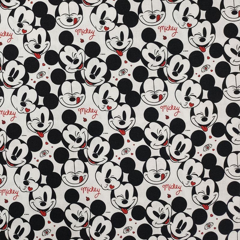 Tessuto Cotone Disney Faccine Mickey Mouse Mini