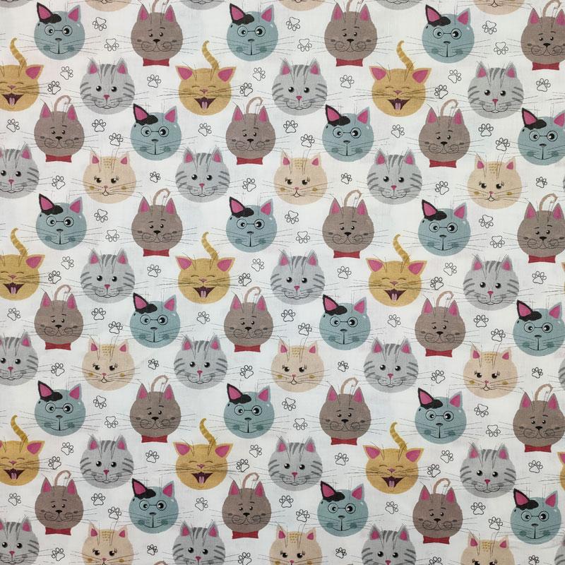 Ritaglio Tessuto Cotone Fantasia Gattini  50x140 cm