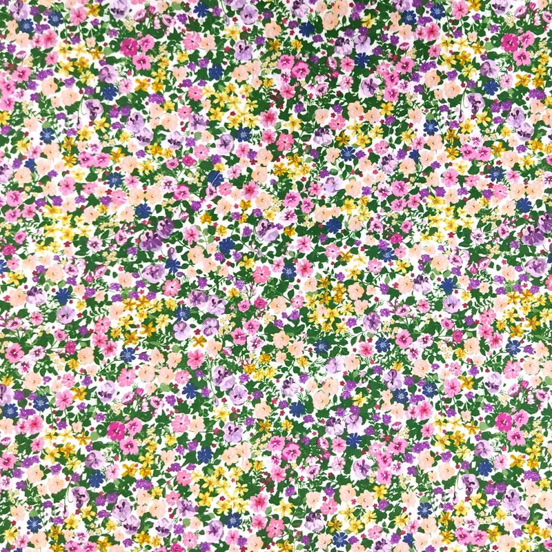 Ritaglio Rasatello di Cotone Fiorellini Primaverili 50x140 cm