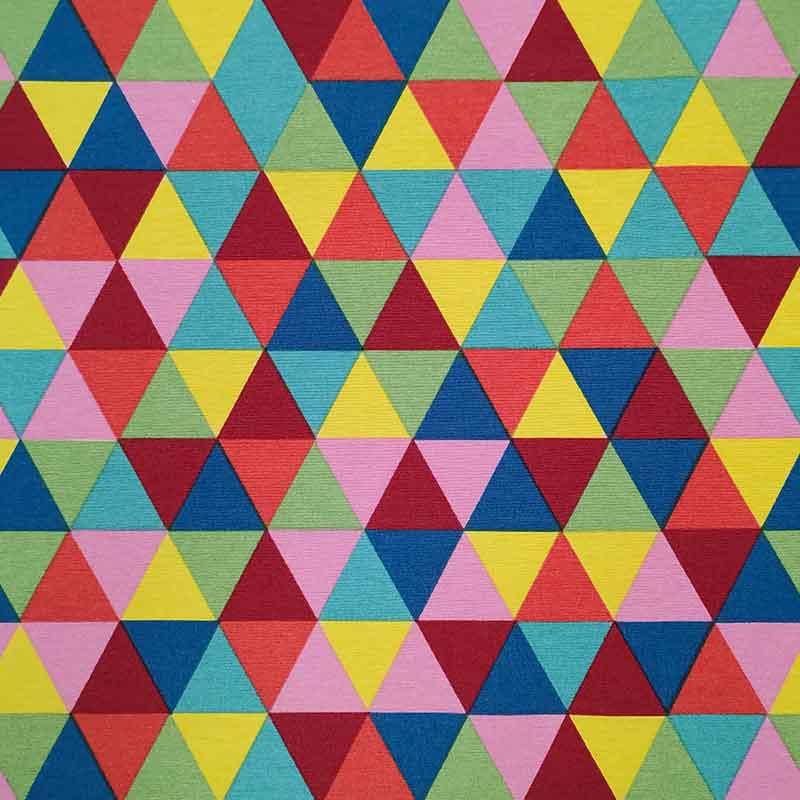 Tessuto Misto Cotone Triangoli Arcobaleno