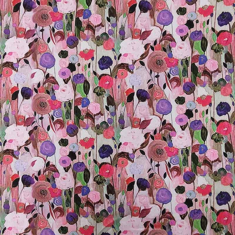 Tessuto Raso Fiori Impressionisti Rosa
