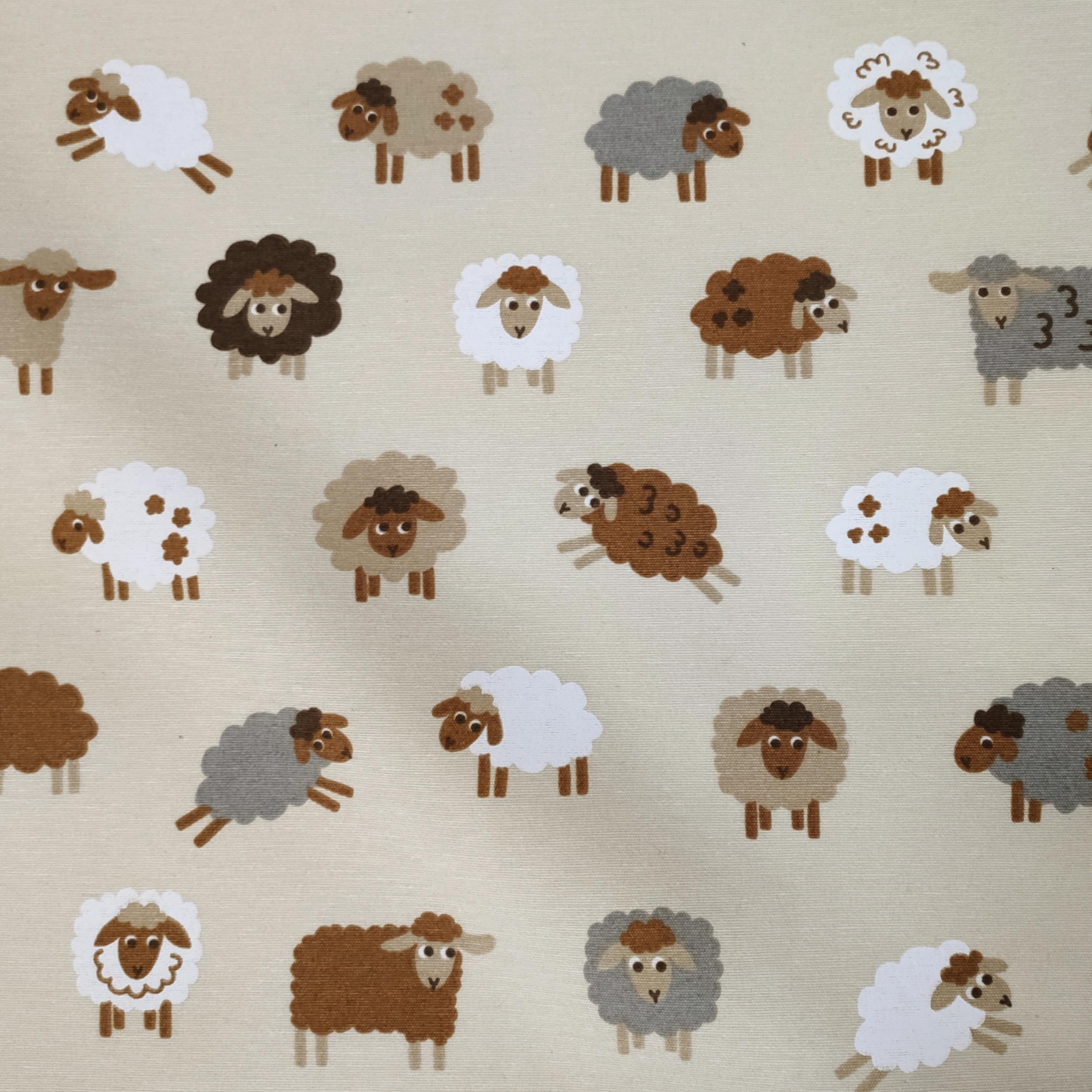 Tessuto Misto Cotone Fantasia Pecorelle