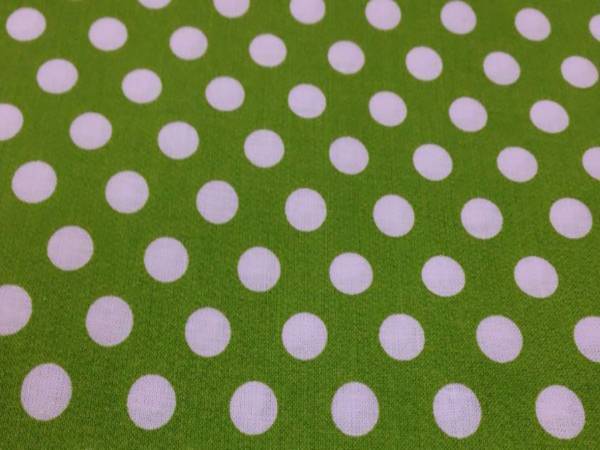 Tessuto Cotone Verde a Pois Grandi