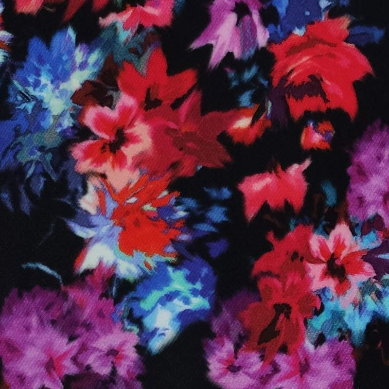 Tessuto Cotone Fiori Colorati su Fondo Scuro