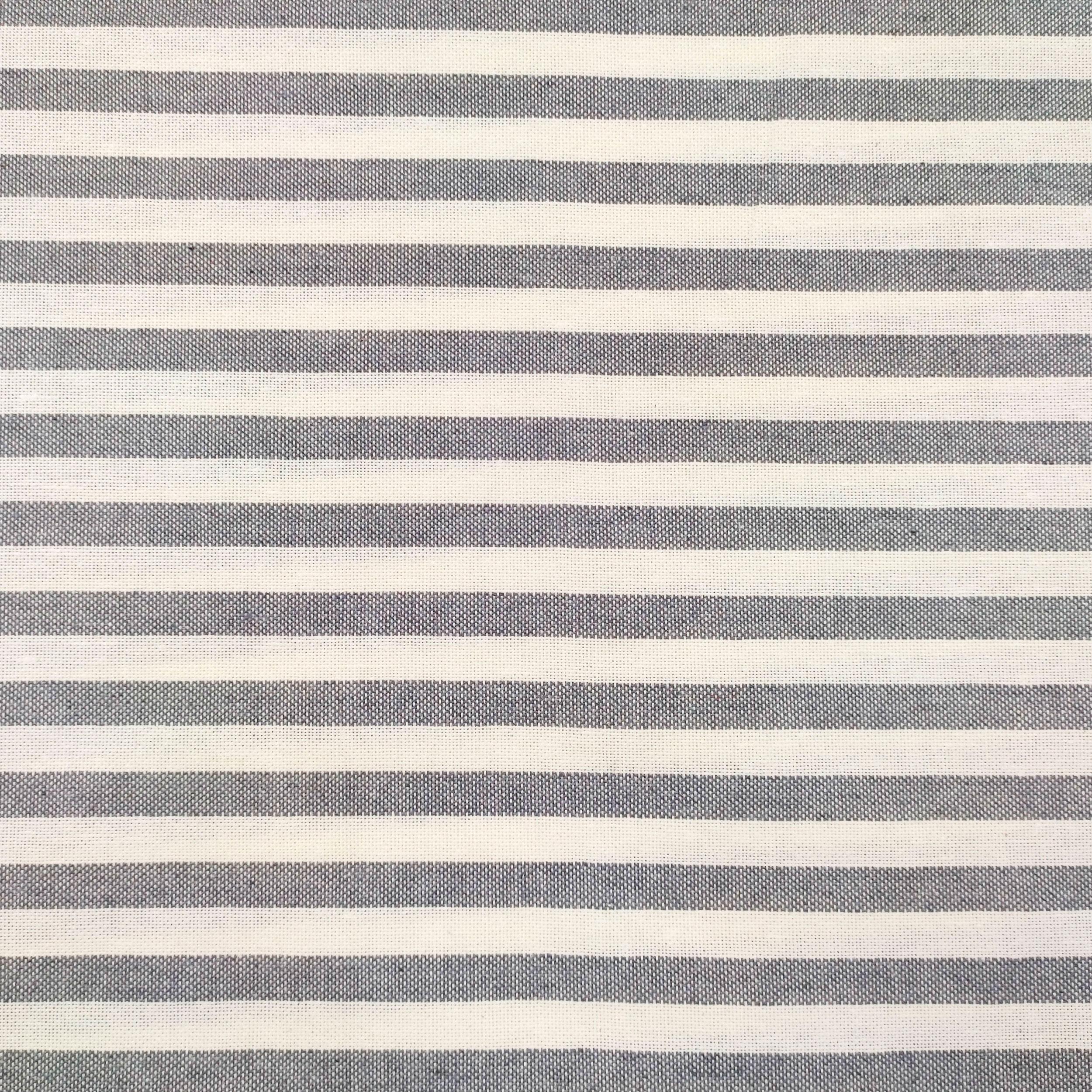Tessuto Panama Tinto In Filo a Righe Grigio