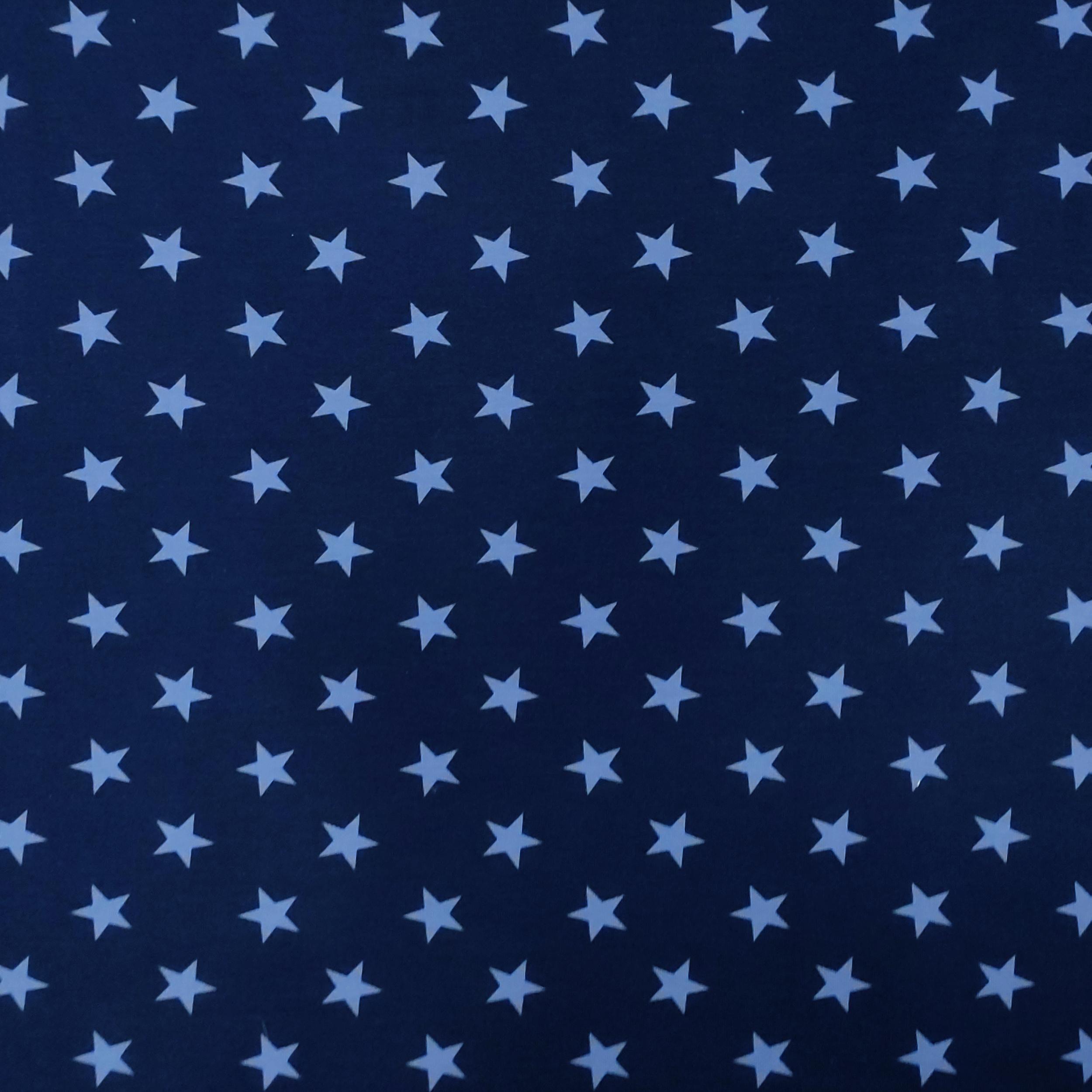 Tessuto Felpa di Cotone Estiva con Stelle  Blu/Celeste