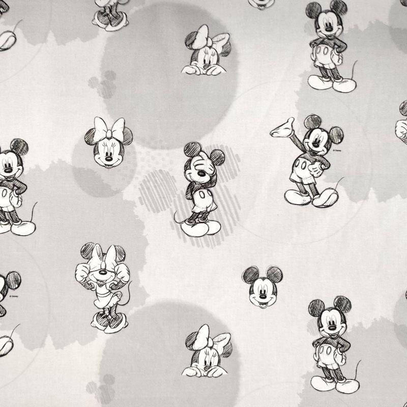 Tessuto Cotone Disney Topolino e Minnie Sketch