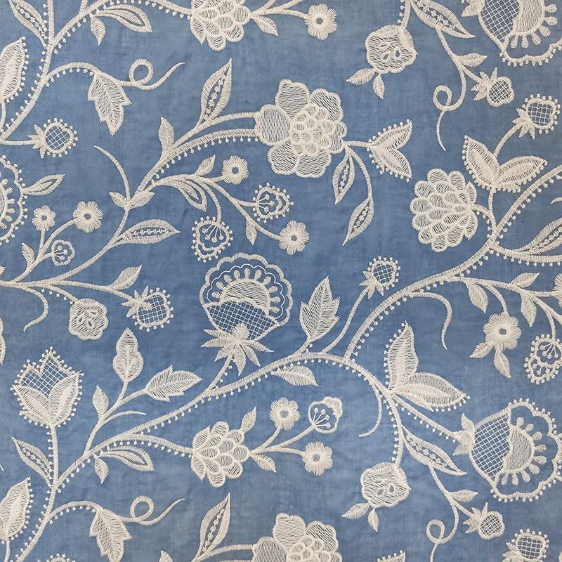 Mussola Cotone Ricamato Floreale Azzurro