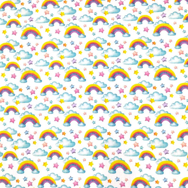 Ritaglio Rasatello di Cotone Arcobaleni e Stelle 50x140 cm